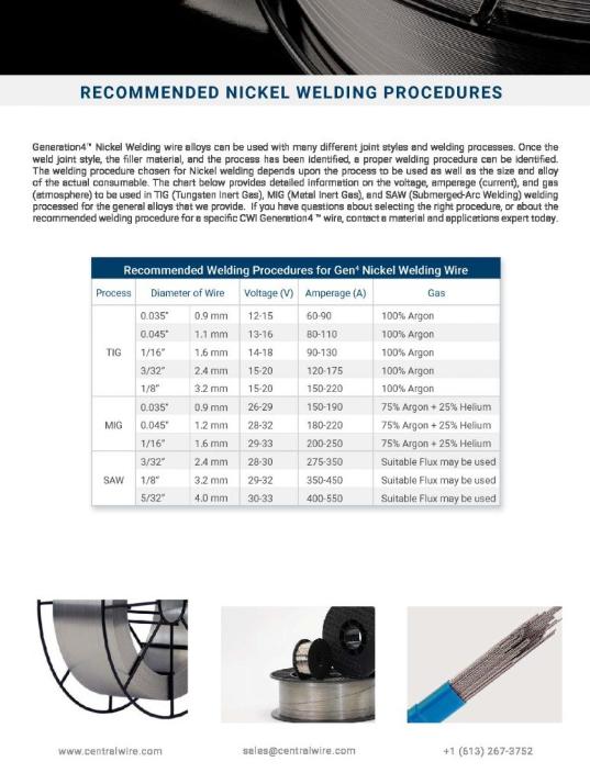 Welding Wire Recommendations - Nickel
