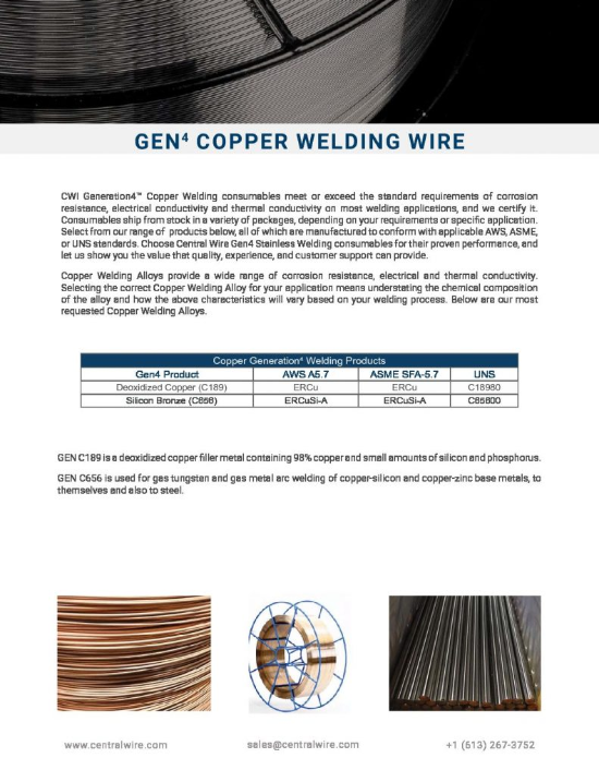 Welding Wire Technical Detail - Copper